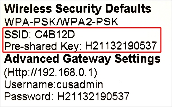 The WiFi information label on your Shaw wireless modem