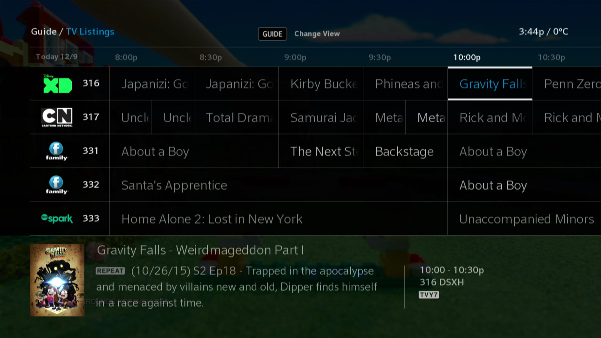 BlueCurve TV - TV Guide Listings