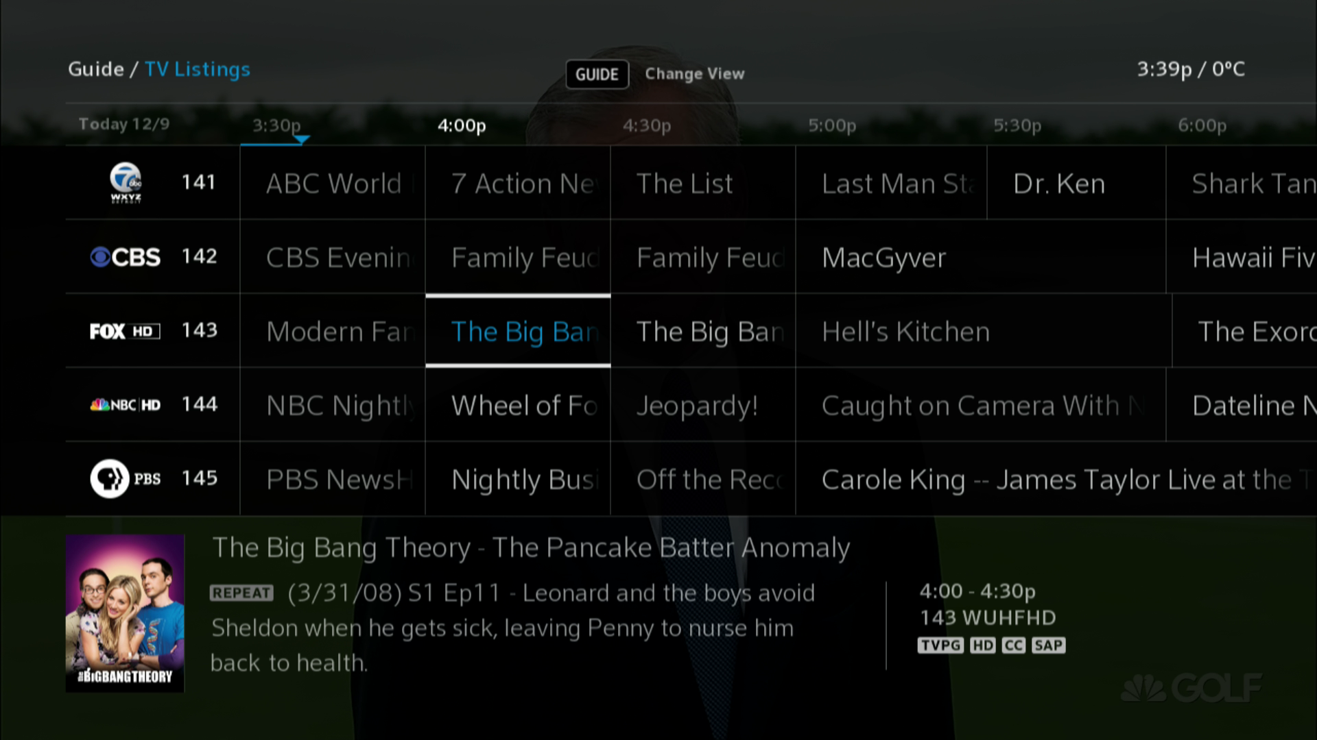 BlueSky TV Guide viewing a channel