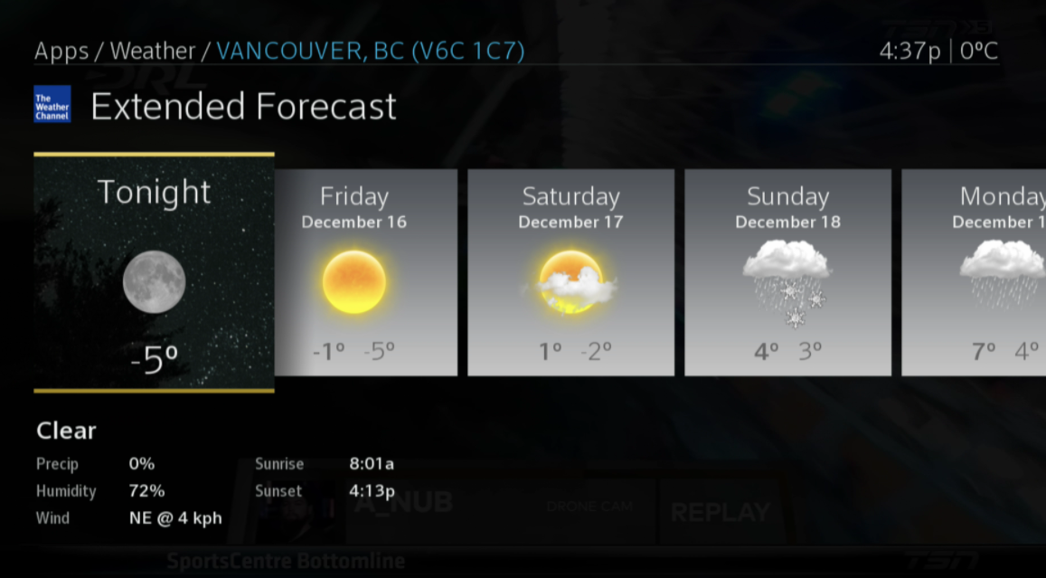 BlueCurve Weather App Extended Forecast
