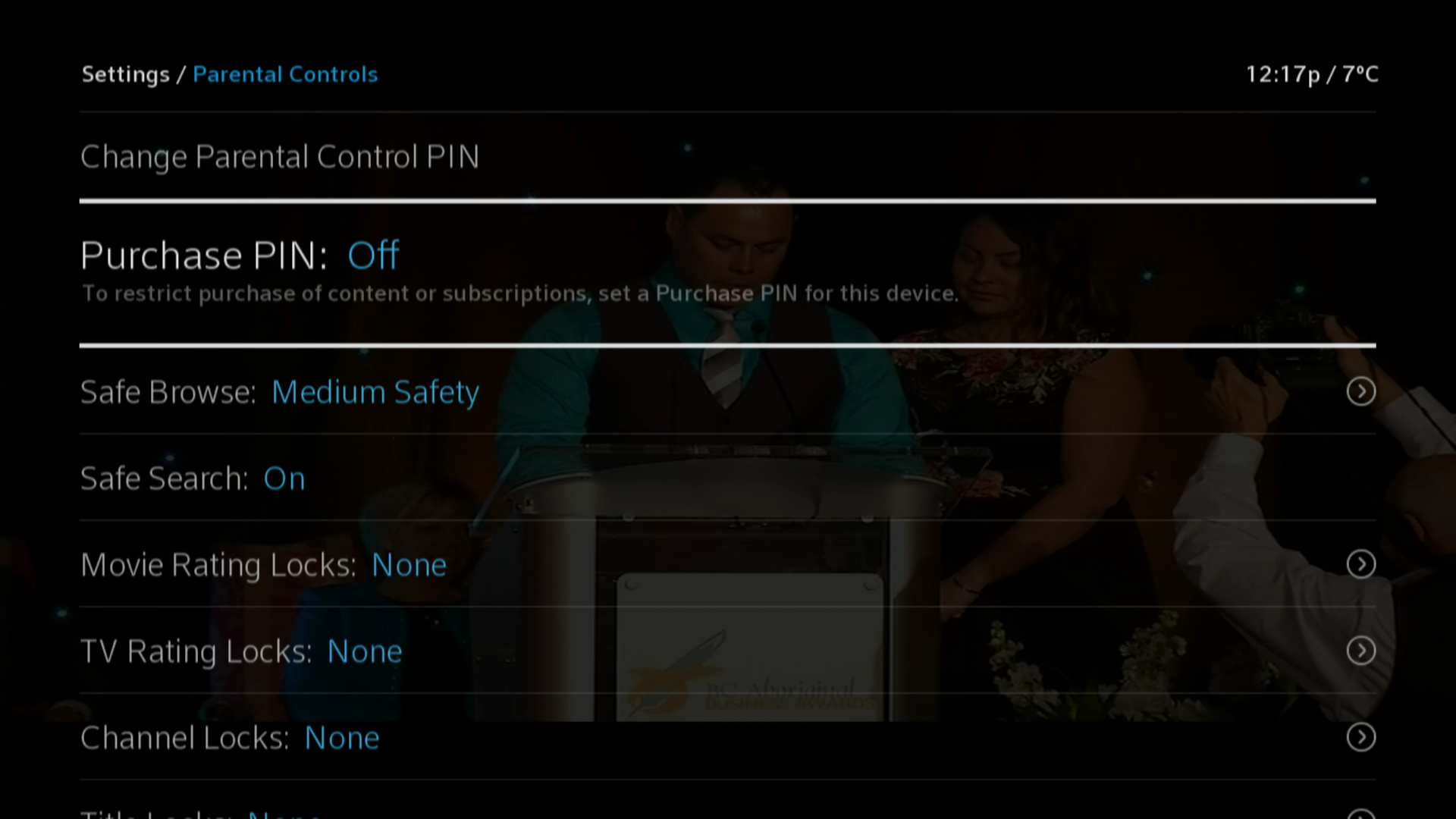 BlueSky Tv > Parental Controls > Purchase Pin Off