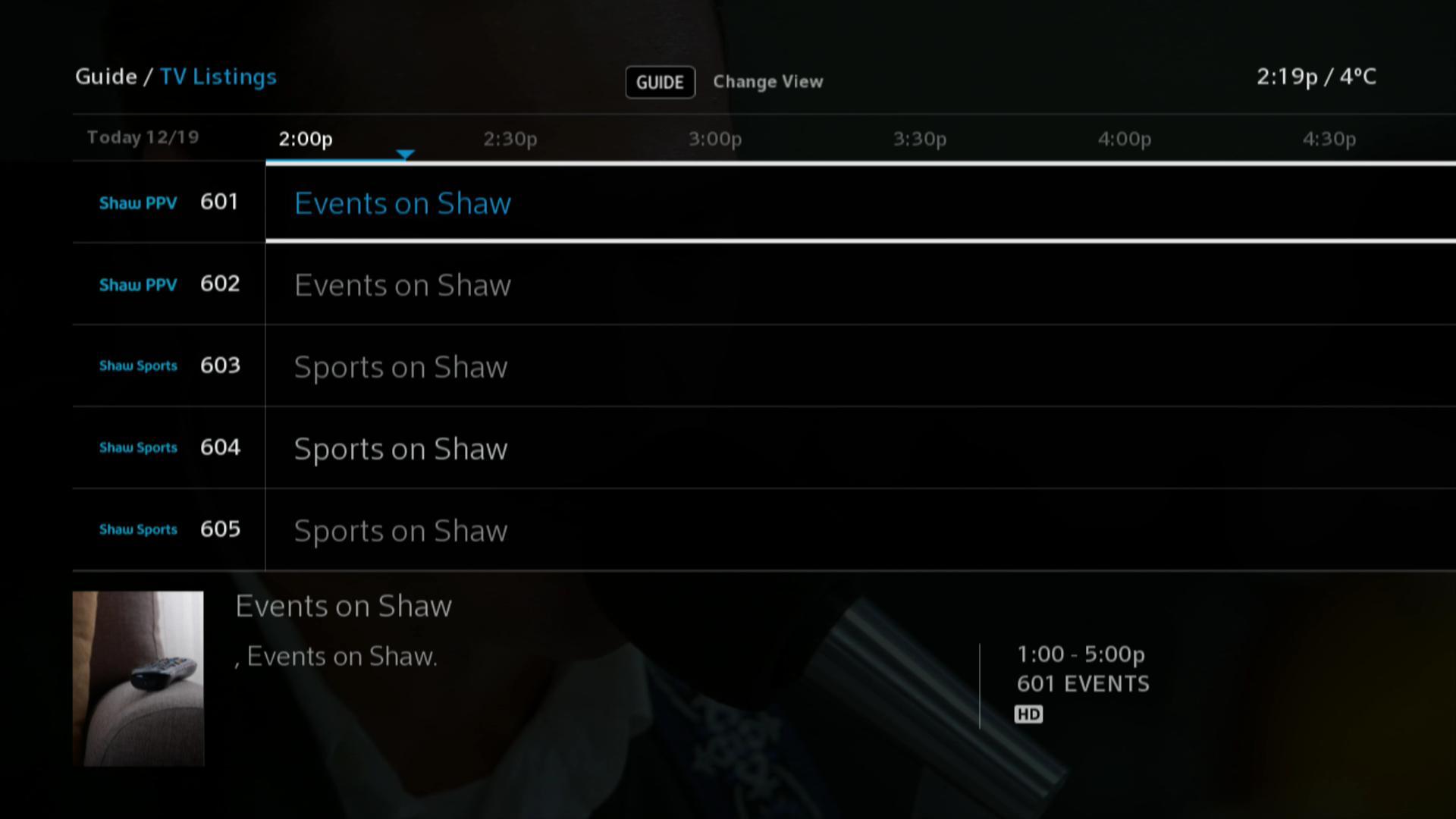 BlueCurve TV > PPV Listings
