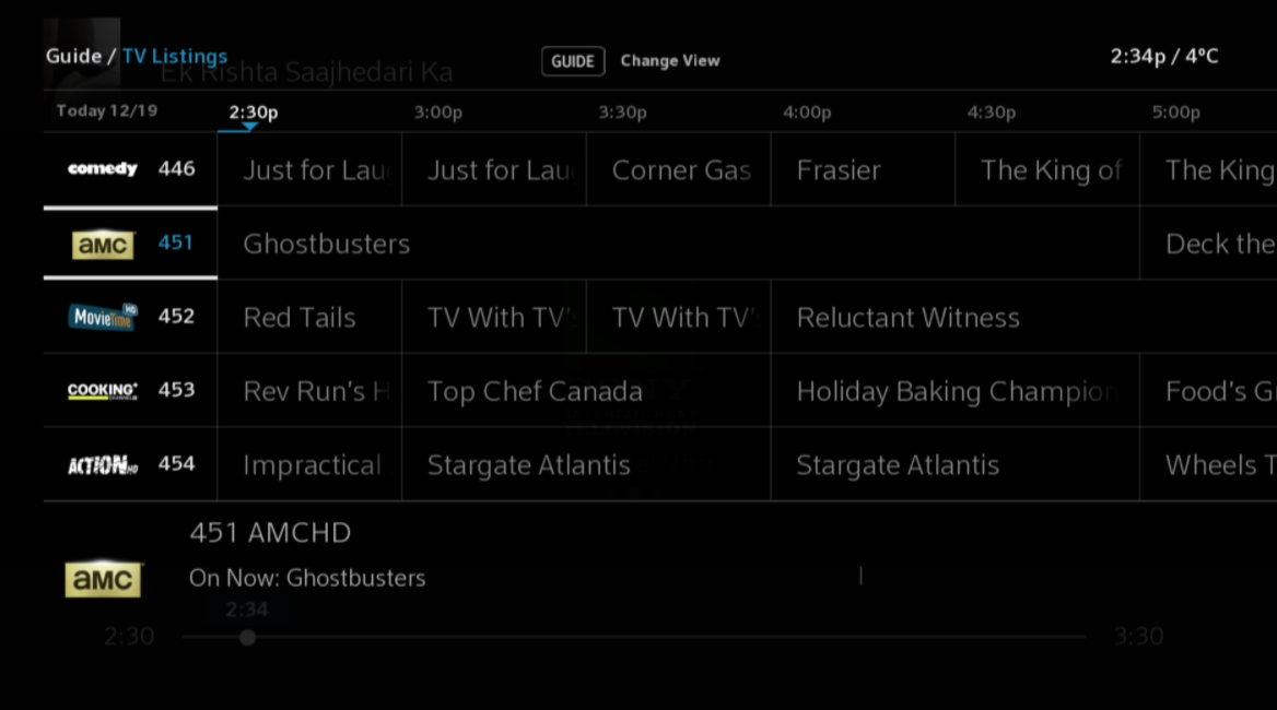 Select channel in Guide