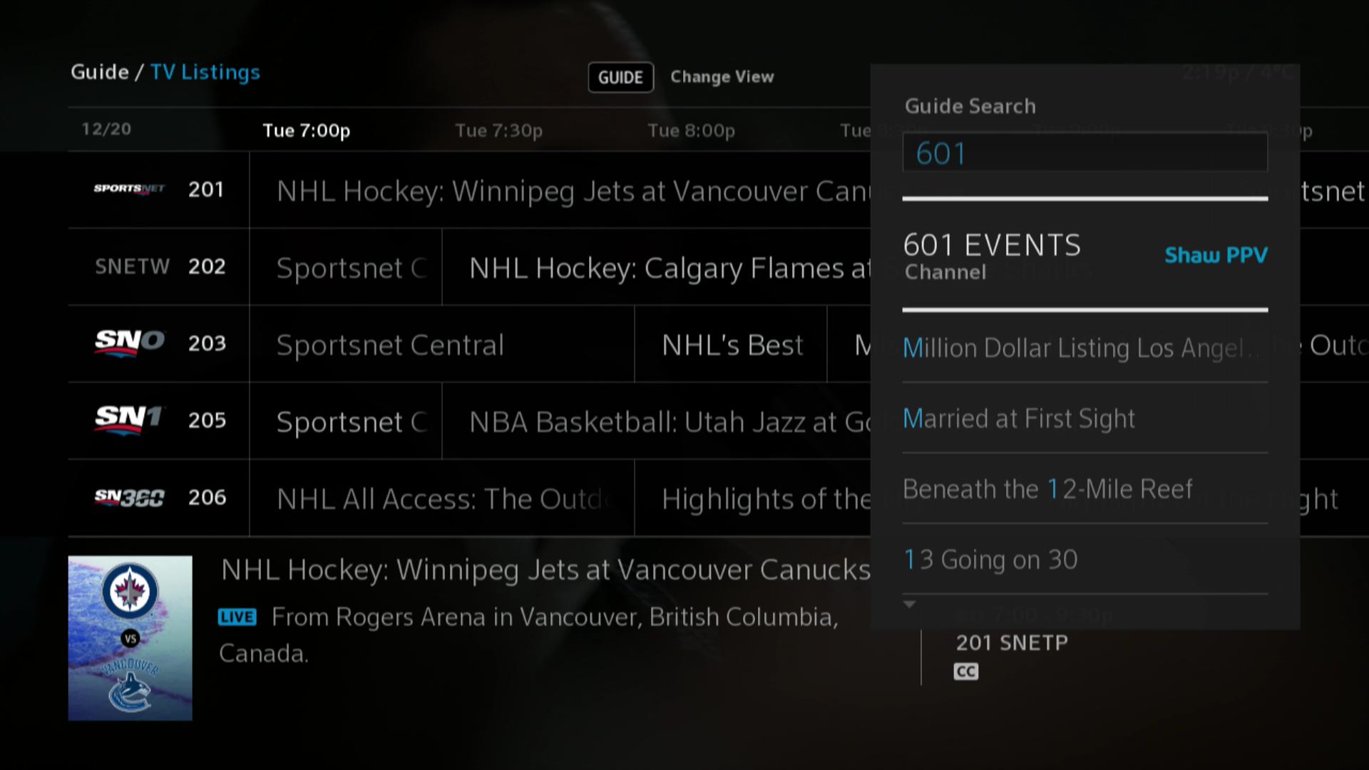 BlueSky TV > Guide Search