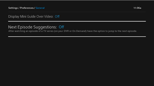 BlueCurve TV > Preferences > Next Episode Suggestion Off