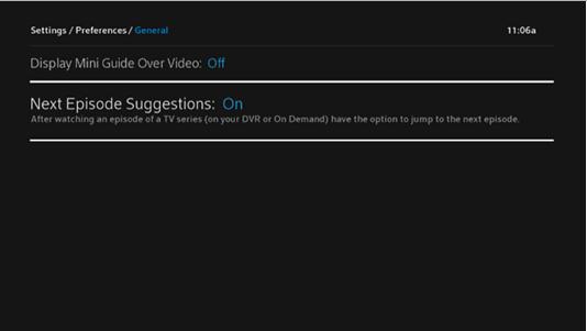 BlueCurve TV > Preferences > Next Episode Suggestion On