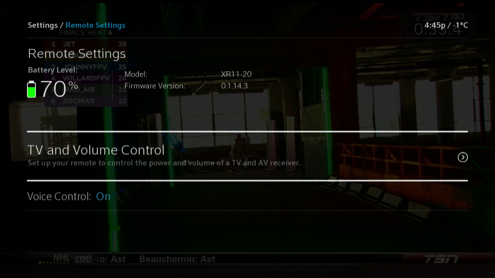 BlueCurve TV Remote Settings