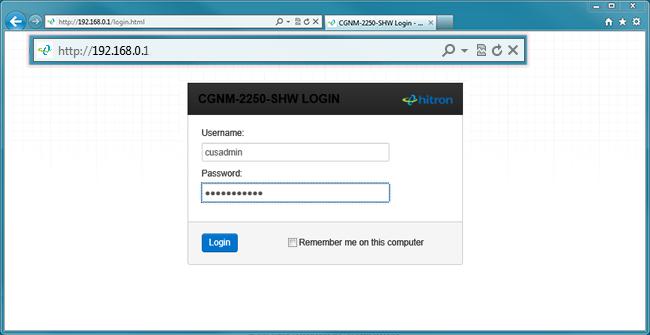 hitron shaw modem username password