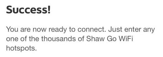 Shaw Go WiFi success