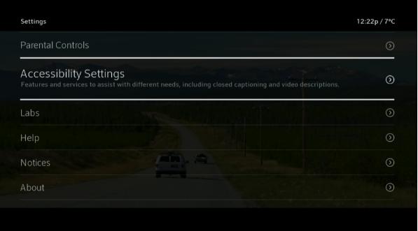 BlueCurve TV > Menu > Accessibility Settings