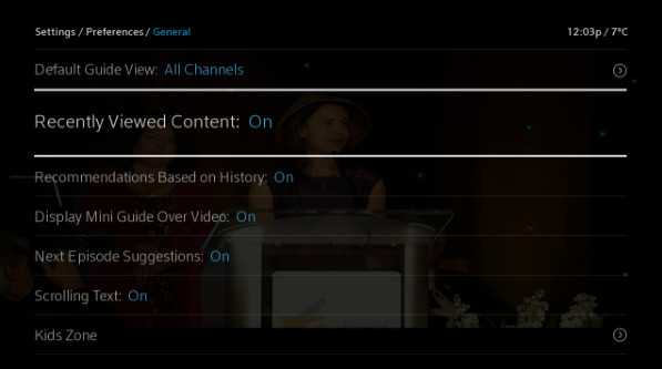 BlueCurve TV > Menu > Settings > Preferences > Recently Viewed Content On