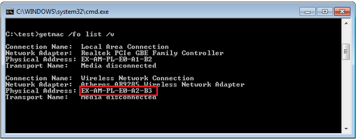 Mac Address from DOS