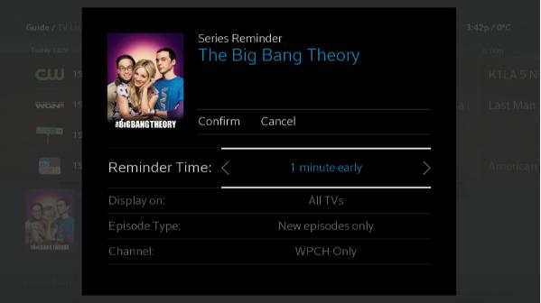 BlueCurve TV > Reminder Options