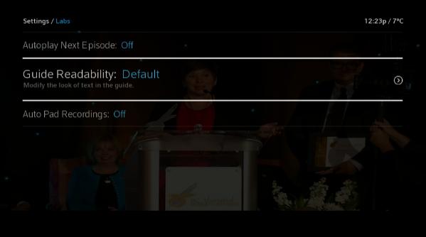 BlueCurve TV > Menu > Labs > Guide Readability