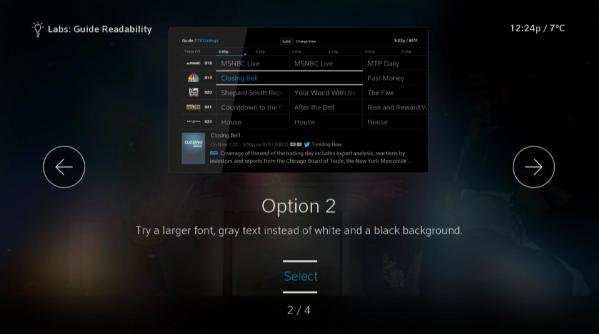 BlueCurve TV > Settings > Labs > Guide Readability Option 2