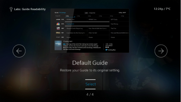 BlueCurve TV > Settings > Labs > Guide Readability Option 4 Default