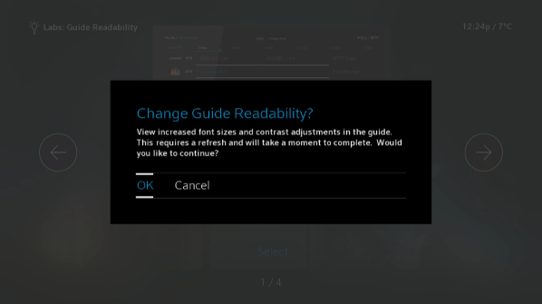 BlueCurve TV > Settings > Labs > Confirmation