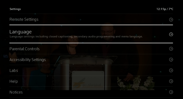 BlueCurve TV > Menu > Settings > Language Settings