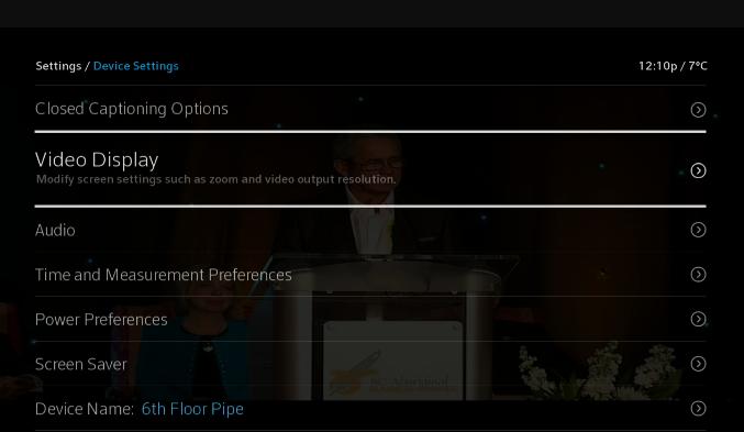 BlueCurve TV > Device Settings > Video Resolution