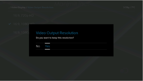BlueCurve TV > Device Settings > Video Output Resolution