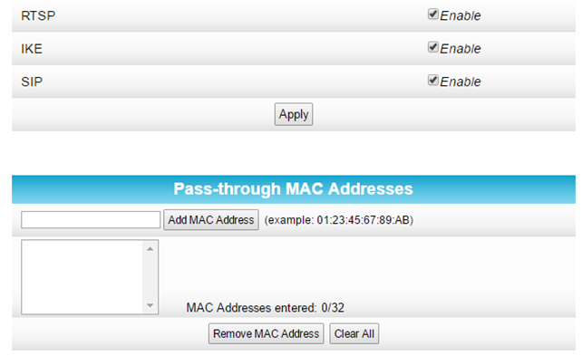 ip passthrough mac address section