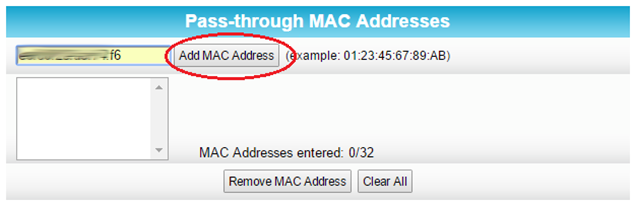 Add mac address step 1