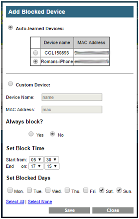 add blocked device automatically auto learned device auto-learned