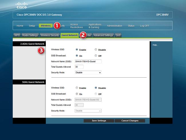 Shaw Cisco DPC3848V Advanced WiFi Modem guest wireless settings