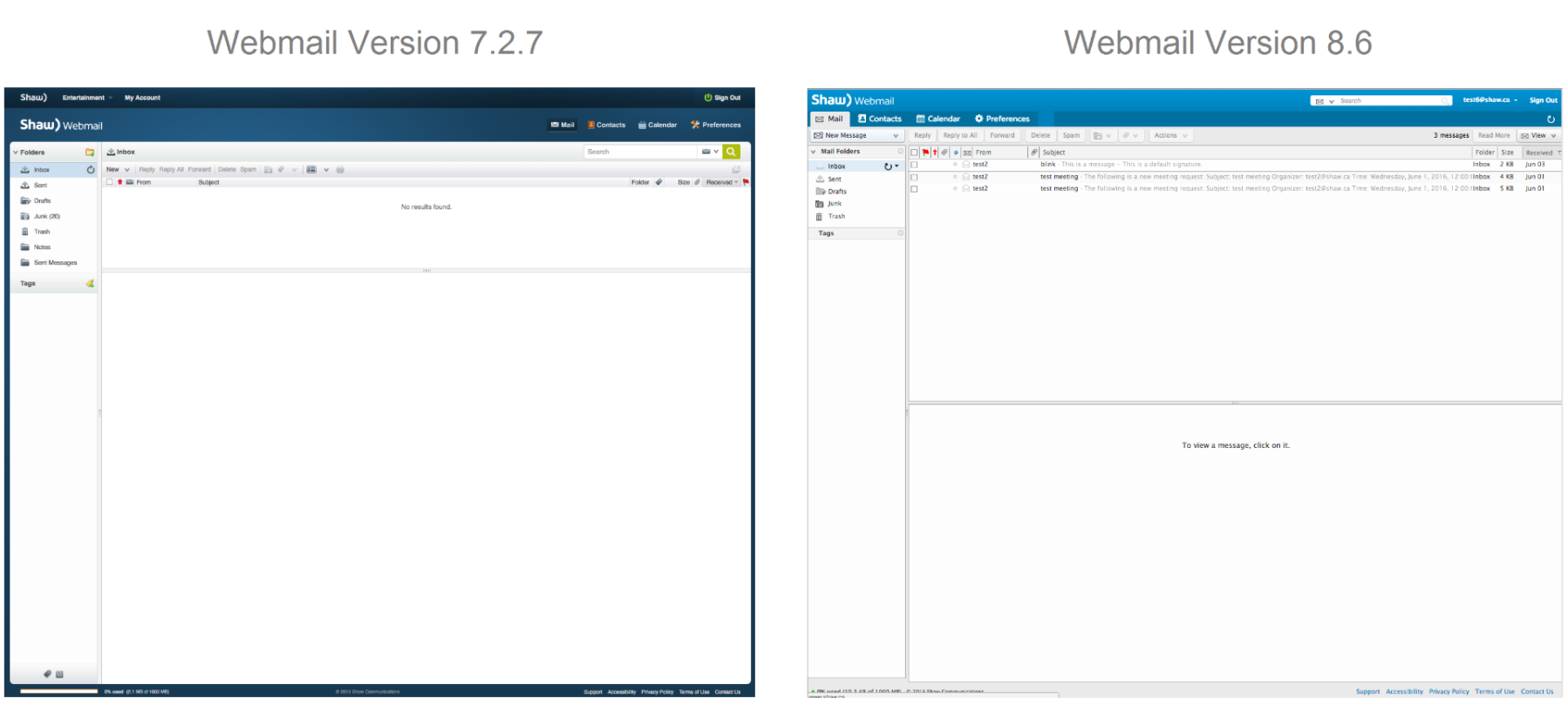 Webmail User Interface Updates