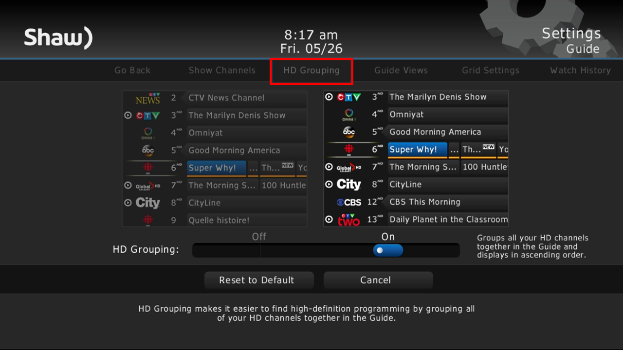 HD Channel Grouping option