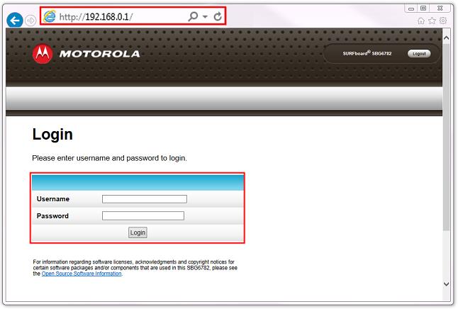 Arris / Motorola Login Screen
