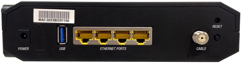 Shaw Cisco DPC3825 Internet Modem back
