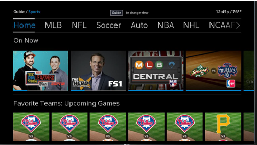 BlueCurve TV > Sports Guide View
