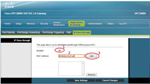 Cisco IP Passthrough checkbox enabled