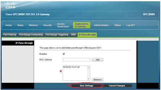 Cisco IP Pass-through Saved Settings