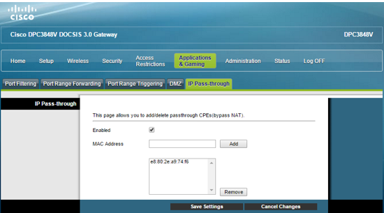 Cisco IP Passthrough Saved Settings