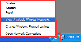 Windows XP View Available Wireless Networks
