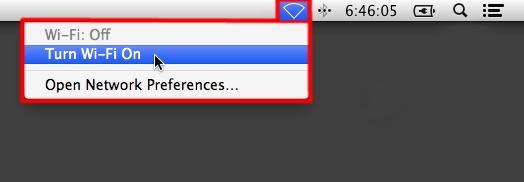 Apple OS X Turn Wi-Fi On