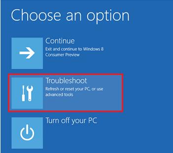 Windows 8 Troubleshoot Option
