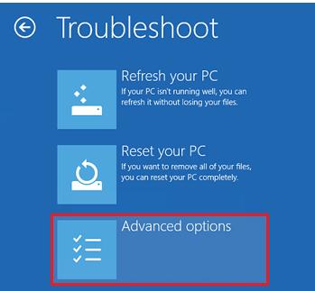 Windows 8 Troubleshoot > Advanced Options