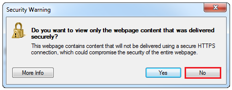 Security Warning Popup Message - IE 8