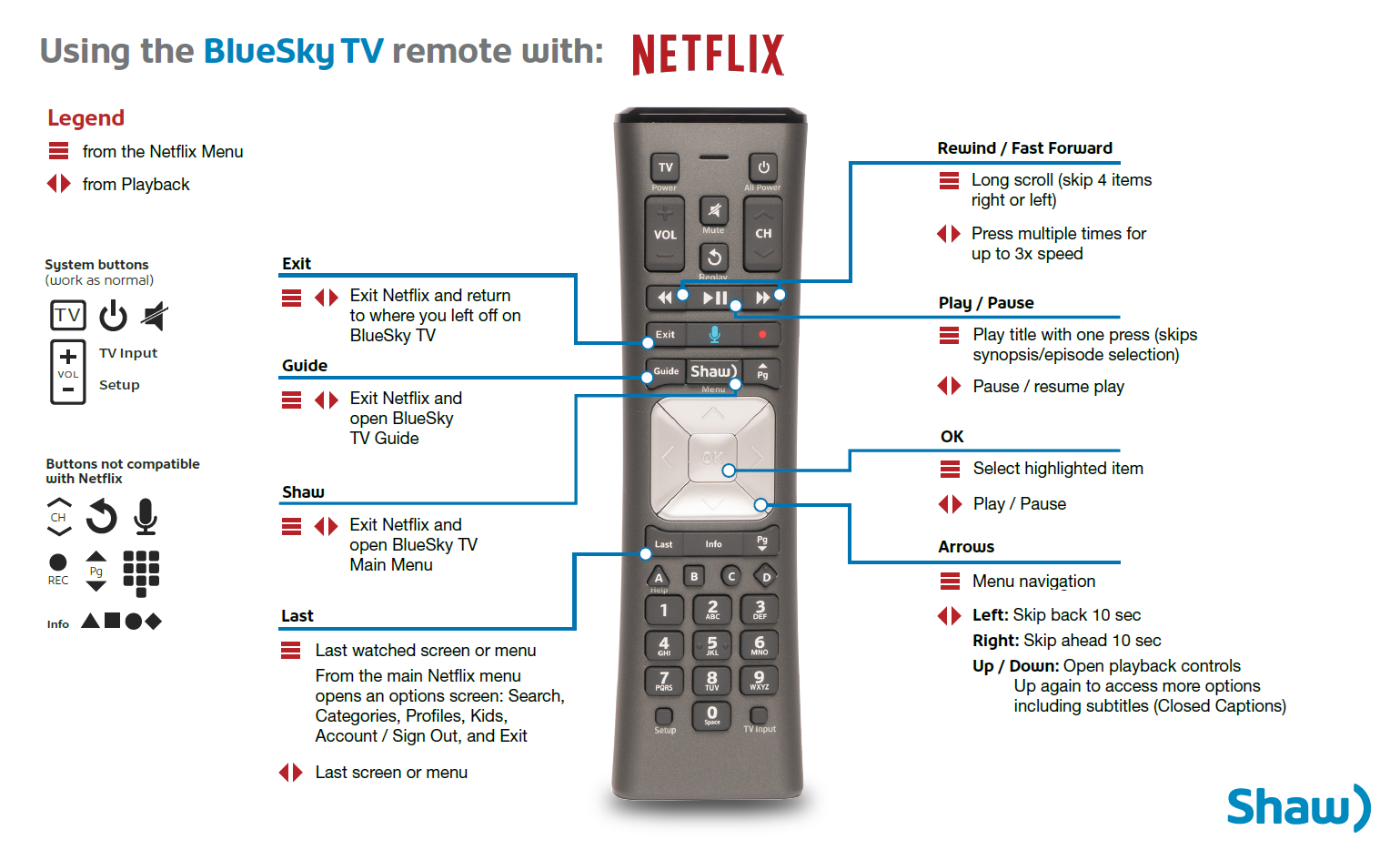 BlueSky TV Voice Remote Control Guide for using Netflix