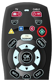 """""""D"""" Button highlighted on Shaw Remote Control"""