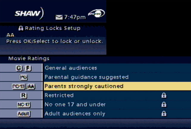 Movie Ratings Options in the Classic Guide