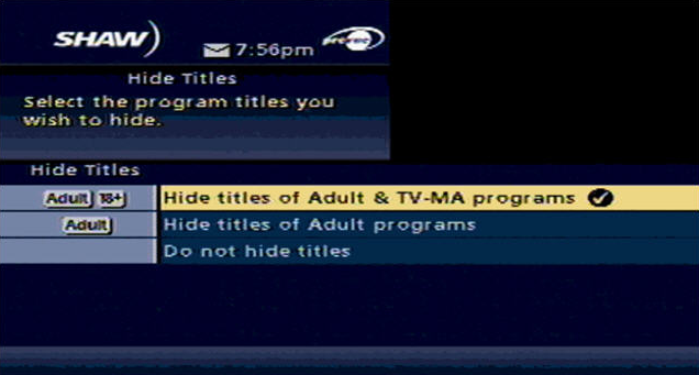 Hide Ttiel Options - Shaw Classic Guide