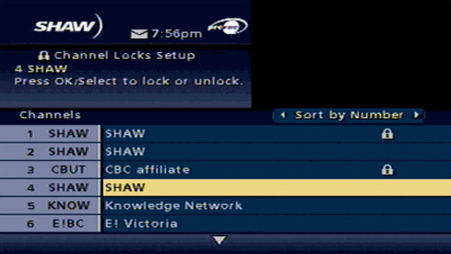 Lock Channel Options - Shaw Classic Guide