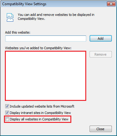 display all websites in compatibility view