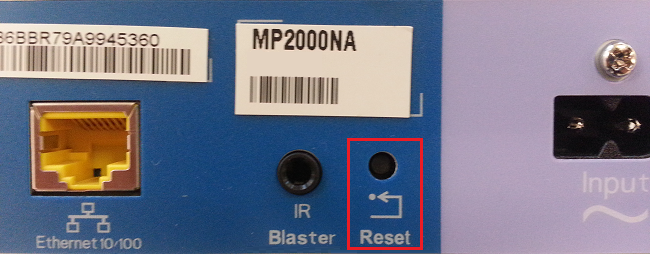 Reset button on the back of the portal
