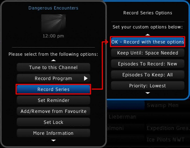 Shaw HD Guide PVR > Record Series > Record with these options setting