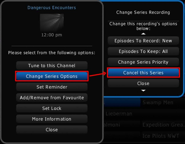 HD Guide PVR > Change Series Options > Cancel this Series option